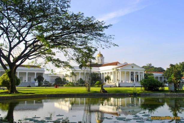 jalan mulus tadi nembus ke sisi kiri Istana Bogor, dan bagian belakang istana dapat kita lihat langsung dari area KRB